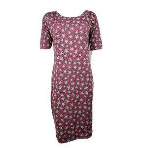 NWT LULAROE Pink Gray Stars Julia Dress Large